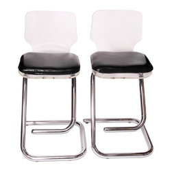 Lucite and Chrome Bar Stools - 40 h x 32 w x 20 d