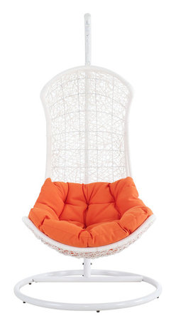 LexMod - Endow Swing Outdoor Patio Lounge Chair in White Orange - Grasp inspiration from the splendor that surrounds you with this distinct modern piece. Endow bestows its recipient with an elevated seating position. Sit apart from the collective while welcoming unity with a plush all-weather orange cushion and receptive frame.