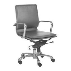 Eurostyle - Eurostyle Gunar Pro Low Back Office Chair in Gray Leatherette - Office Chair in Gray Leatherette belongs to Gunar Pro High Back Collection by Eurostyle The five-leg pedestal on wheels is reliable and sturdy no matter how you roll. The rest is pure style. The feel of leather and the easy-to-use tilt mechanism are perfect when you want to lean into your work in comfort. Office Chair (1)