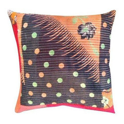 Pre-owned Vintage Black Flower Kantha Pillow - Vintage Kantha pillow with a floral motif in black, red, pink orange and green. The pillow has a cream linen backing and has a zipper closure. Down fill.