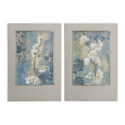 Uttermost - Uttermost 41511  Blossoms Framed Art Set/2 - Prints are accented by frames covered in nubby, oatmeal colored linen fabric. frames have a champagne silver leaf inner lip. prints are under glass.