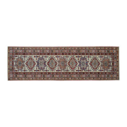 1800-Get-A-Rug - Super Kazak 100% Wool Hand Knotted Ivory Runner Oriental Rug Sh15633 - Our Tribal & Geometric Collection consists of classic rugs woven with geometric patterns based on traditional tribal motifs. You will find Kazak rugs and flat-woven Kilims with centuries-old classic Turkish, Persian, Caucasian and Armenian patterns. The collection also includes the antique, finely-woven Serapi Heriz, the Mamluk Afghan, and the traditional village Persian rug.