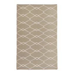 Jill Rosenwald - Jill Rosenwald by Surya Fallon Chain Khaki Green Hand Woven Rug - The flat weave Surya Fallon area rug exemplifies designer Jill Rosenwald's refined, sophisticated style. Boasting a simple geometric pattern, the floor covering's interlocking diamond motif makes a chic statement in the modern interior. 100% hand woven wool . Khaki green and antique white . Flat pile. Available in several sizes . Rug pad recommended.