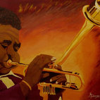 Jazz legend Dizzy Gillespie - All the cool cats out there, this painting's for you. Signed by the artist, this acrylic on canvas pops with warm color and jazzy pizazz. Hang this in your studio for some inspiration from the source of original music.