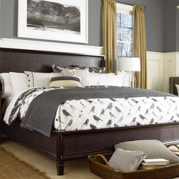 Universal Furniture - Summer Hill Woven Bedroom Set in Midnight - Universal Furniture's Summer Hill Bedroom Set combines metropolitan sensibility and timeless style, creating a look that is both fresh and familiar. The delicately woven rattan bed accentuates the deep Midnight finish and clean, sophisticated lines of the collection. Jewelry trays and electronic storage add functionality, enhancing the relaxed feel of your modern space. Including a King or Queen Size bed, 9 drawer dresser, mirror, chest, and two nightstands, this set is ideal for any home.