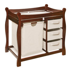 Badger Basket - Cherry Sleigh Style Changing Table With Hamper/3 Baskets - This changing table keeps everything tidy and concealed for a clean look in the nursery. Large pull out hamper for dirty duds, or for storing bulk packs of diapers, blankets, and toys. And three pull-out baskets are ideal for changing supplies, clothes, socks, shoes, and toiletries. Hamper bag measures approximately 15x15x23 inches and baskets measure approximately 13x17x7 inches. It can be used with children weighing up to 30 lbs. (13.6 kg).