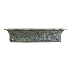 iMax - Aster Metal Wall Shelf - Inspired by antique ceiling tiles and incorporating timeless motifs, the Aster metal wall shelf has an aged blue finish and looks great with a variety of decor.