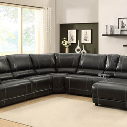 Homelegance - Homelegance Cale Reclining Sectional in Black Leather - Your living room's décor requires a bold statement piece that provides comfort and function. The Cale Collection will provide your family and friends the ultimate spot for both. Covered in a black bonded leather match that features contrast white stitching  there is a hint of masculinity that permeates the collection. Featuring plush seating along with reclining end seat  cup holders  hidden storage and reclining end chaise  each person will have the best seat in the house.