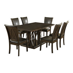 Homelegance - Homelegance Garvey 7-Piece Pedestal Dining Room Set with Dark Brown Chairs - Beautiful from every angle, The ebony finished Garvey collection is a unique addition to your contemporary or transitional casual dining room. The boldly designed base of the table features interwoven wood slats creating a birdcage effect. The radiating walnut veneer pattern of the tabletop creates another design layer that takes the style to the next level. With two chair options, the collection becomes exactly what you envision. White or dark brown bi-cast vinyl seating and backs are accented with the base's X-design rounding out the look.