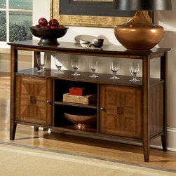 Homelegance - Homelegance Verona 52 Inch Server w/ Open Storage in Distressed Amber - From traditional to modern  the Verona Collection fits beautifully into any home decor. The table features oak veneer with walnut inlay in a distressed amber finish. The chair design features bi-cast vinyl in a deep chocolate that is easy to clean and is luxurious to the touch. A stunning combination of color and design gives the Verona dining collection a classic look into contemporary furniture.