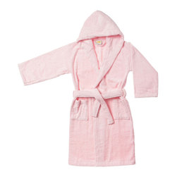 Superior Egyptian Cotton Kids Hooded Unisex Terry Bath Robe - Large - Pink - Lounge in the lap of luxury with this heavenly soft Egyptian cotton robe. These durable superior bath robes are designed specially for children. Available in two sizes and six exquisite colors.