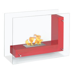 """Ignis Vitrum L Red 32"""" x 24"""" Freestanding Ventless Ethanol Fireplace FSF-005R - Undoubtedly a conversation piece, this Ethanol fireplace will add a designer touch to your modern décor without being in the way. The Vitrum L two clear glass walls hold the L shaped frame giving you the appearance that it is just floating. Easily placed in any part of the room the flame is visible from any location. This ethanol fireplace is part of the home furniture and could not be missed out."""