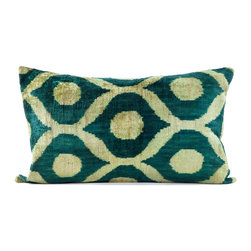 """Indigo&Lavender - 16"""" x 24"""" Silk Velvet Ikat Pillow, Emerald Green - Made from Ikat textiles that are loomed from hand-dyed silk in Uzbekistan, along Marco Polo�۪s renowned Silk Road, each pillow has been hand-sewn in Istanbul, Turkey. The goose down fill ensures extra luxury. Solid linen backing and zipper."""