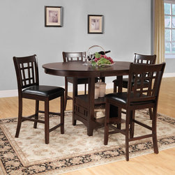Tribecca Home - TRIBECCA HOME Banbury Warm Cherry Mission 5-piece Counter Height Set - Vintage charm can be yours with this five-piece counter-height dining set. The classic Mission-style chairs and matching table create an elegant look for any dining room. Plush cushions make the seats comfy,while the cherry finish adds extra beauty.