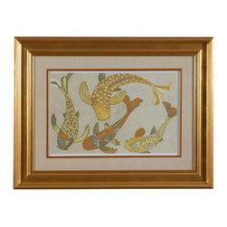 Bassett Mirror Company - Bassett Mirror Golden Koi I Framed Art - Golden Koi I Framed Art belongs to Old World Collection by Bassett Mirror Company Golden Koi I Framed Art Wall Panel (1)