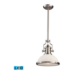 Landmark Lighting - Landmark Lighting Chadwick 66123-1-LED 1-Light Pendant in Satin Nickel - LED Off - 66123-1-LED 1-Light Pendant in Satin Nickel - LED Offering Up To 800 Lumens belongs to Chadwick Collection by Landmark Lighting The Chadwick Collection Reflects The Beauty Of Hand-Turned Craftsmanship Inspired By Early 20Th Century Lighting And Antiques That Have Surpassed The Test Of Time. This Robust Collection Features Detailing Appropriate For Classic Or Transitional decors. White Glass Compliments The Various Finish Options Including Polished Nickel, Satin Nickel, And Antique Copper. Amber Glass Enriches The OiLED Bronze Finish. - LED Offering Up To 800 Lumens (60 Watt Equivalent) With Full Range Dimming. Includes An Easily Replaceable LED Bulb (120V). Pendant (1)