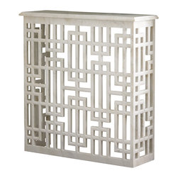 Global Views - Marble Gridblock Console - Structured and architectural, this solid white honed marble collection adds a bold graphic element to any interior. Open grid base with solid white honed marble top.