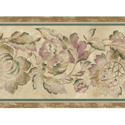 York Wallcoverings - Brown Flower Wallpaper Border - Wallpaper borders bring color, character and detail to a room with exciting new look for your walls - easier and quicker then ever.