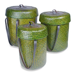 Foreign Affairs Home Decor - Baskets HUTAN, Set of 3, with lid & handles, dark green - Beautiful Rattan Basket Set with fitting lids and strong handles. Can be nestled into each other for storage. Dark Green, Set of 3 (L, M, S)