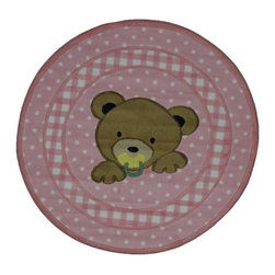 Fun Rugs - Teddy Center Kids Rug in Pink - Your child's room is a natural extension of them. Add these innovative designs from LA Rug to spruce up any child's decor.