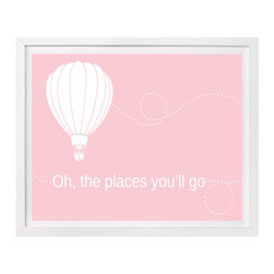 Nursery Art, Childrens Art - Oh, the places you'll go print features a hot air balloon. Pick your color.
