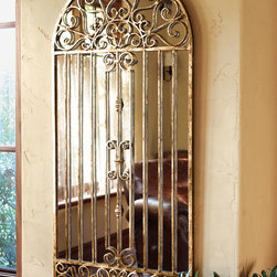"""Horchow - """"Garden Gate"""" Mirror - """"Garden Gate"""" MirrorThe charming scrolls of one of our favorite garden gates now forms an overlay for this mirrored wall decor. Iron overlay is hand painted with an antiqued gold finish. 23.5""""W x 1""""D x 49.5""""T."""
