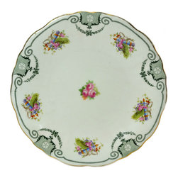 Lavish Shoestring - Consigned Cake Serving Plate in Green and Pink by Royal Doulton, Antique English - This is a vintage one-of-a-kind item.