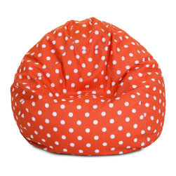 Majestic Home - Outdoor Orange Ikat Dot Small Bean Bag - Beanbags are the ultimate kid-friendly chairs: You can toss them anywhere, let them get kicked around and squished up, and you don't have to worry if this one gets left outside overnight. This small, stylish ikat dot beanbag is just the right size for your kid to plop in front of a movie or out by the pool, and its pretty patterned slipcover is safe for outdoors and removable for easy cleaning.