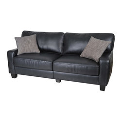 "Serta by True Innovations - Serta Santa Rosa Deluxe Sofa in Black Bonded Leather - Serta by True Innovations - Sofas - CR43879P - For more than 75 years, Serta has been an industry leader in comfort products worldwide. That tradition of innovation and quality continues today. From a brand that is synonymous with quality, comfort and style, the Serta Santa Rosa Collection Deluxe Sofa offers many attractive features that you're going to love. Starting with its Tool-free EZ assembly, which is the most convenient and stress free on the market today. this product goes from box to built in mere minutes. But that's just the beginning, this sofa is generous and comfortable as well. In fact, you might find it a great place for a nap! Here's why: Starting from the ground up, you have a solid stance on real wood legs. Next, the lower foundation is constructed with hardwood materials and the tried and true method of mechanically fastened and glued hardwood plywood corner blocks that reinforce the frame and sturdiness, along with track style arms with corrugated reinforced outer-sides. Attached to that are heavy-duty 8 gauge anti-sag sinuous springs secured and joined with a double row of tie wire. this forms a comfortable, supportive and lasting seating structure. Resting upon this are seat cushions with rows of individually pocketed comfort coils surrounded by high density seating foam, and premium quality poly-fibers on top. this cushion system forms the basis of our ""sit down, and sink in"" feel. Behind that you have the upper structure which consists of more hardwood material and a matrix of non-woven strapping that form a dense and sturdy back structure. In front of that are the pillowed back cushions. These consist of an inner poly-fiber core contained in a non-woven cover to help maintain shape and density. Wrap the whole thing in a deep and rich smooth black eco-friendly bonded leather and you have a gorgeous piece for any living space. 1 year limited warranty. product assembly is required. Designed in the USA."