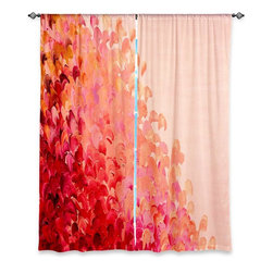 """DiaNoche Designs - Window Curtains Lined by Julia Di Sano - Creation in Color Coral Pink - DiaNoche Designs works with artists from around the world to print their stunning works to many unique home decor items.  Purchasing window curtains just got easier and better! Create a designer look to any of your living spaces with our decorative and unique """"Lined Window Curtains."""" Perfect for the living room, dining room or bedroom, these artistic curtains are an easy and inexpensive way to add color and style when decorating your home.  This is a woven poly material that filters outside light and creates a privacy barrier.  Each package includes two easy-to-hang, 3 inch diameter pole-pocket curtain panels.  The width listed is the total measurement of the two panels.  Curtain rod sold separately. Easy care, machine wash cold, tumble dry low, iron low if needed.  Printed in the USA."""