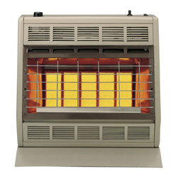 "Empire Comfort - Vent-Free Infrared Heater SR30LP - Liquid Propane - Empire Heating Systems Radiant models produce an infrared ""radiant"" heat that instantly adds warmth to you and objects in the room just like the sun. The SR-30 quickly fill large rooms with 30000 BTU of warmth at the touch of a button.Features:"