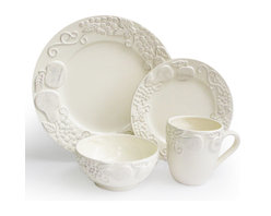 Jay Import Co - Frutta 16 Piece Dinnerware Set, Cream - Talk about a fruit plate! A charming relief of apples, pears and grapes adorn these dishes (16 pieces, a full service for four) to bring unique charm to your table. Now, if you could only get your crew to eat their vegetables!
