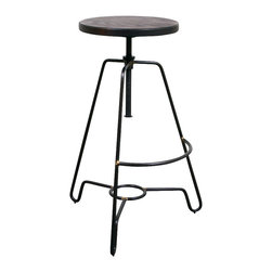 Nuevo Living - Briggs Counter Height Adjustable Stool with Seared Oak and Black Steel by Nuevo - The Briggs Counter Height Adjustable Stool with Seared Oak and Black Steel by Nuevo features a Black steel base and a seared French Oak seat.  Available in 6 different colors:  Black, white, ivory, sage, bartlett (yellow) and shanghai (red).