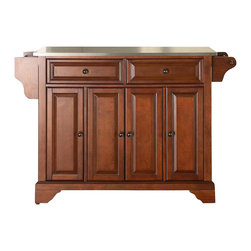 Crosley Furniture - LaFayette Stainless Steel Top Kitchen Island - Beautiful Raised Panel Doors. Antique Brass Finish Hardware. Total of Three Adjustable Shelves Inside Cabinet. Spice Rack with Towel Bar. Towel Bar / Paper Towel Holder. Stainless Steel Top. Solid Hardwood & Veneer Construction. 36 in. H x 52 in. W x 18 in. D (105.5 lbs.)Constructed of solid hardwood and wood veneers, this kitchen island is designed for longevity. The beautiful raised panel doors and drawer fronts provide the ultimate in style to dress up your kitchen. Two deep drawers are great for anything from utensils to storage containers. Behind the four doors, you will find adjustable shelves and an abundance of storage space for things that you prefer to be out of sight. Style, function, and quality make this mobile kitchen cart a wise addition to your home.