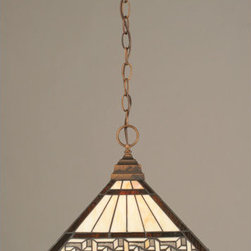 Toltec Lighting - Bronze Chain Hung Pendant with Greek Key Tiffany Glass - - 14 Greek Key Tiffany Glass  - Includes 10 ' of chain and 11 ' of wire  - Bulbs not included Toltec Lighting - 12-BRZ-982