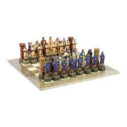 Giant Crusades Hand-Painted Chess Set - Everything about our Giant Crusades Hand-Painted Chess Set is super-sized. These beautiful hand-painted marble resin chess pieces pit the Knights Templar against the Mujah Deen forces once again, in pieces larger than life (king height: 6.875 inches). It's paired with an extra-large maple inlaid board in light brown and cream that complements the pieces beautifully. About the Swirling Stream Chess Board Gray and cream maple and erable wood inlaid squares Matching maple hardwood border Board size: 20 x 20 inches; Square size: 2.375 inches About Cambor GamesNew Jersey-based Cambor Games has spent the last 30 years developing product lines to address a variety of classic gaming needs. The company offers chess sets, backgammon boards, poker equipment, dominoes, mahjong tiles, and more. From traditional designs to novelty themed items, value-priced beginner sets to high-end collectors' dreams, Cambor Games has the game equipment you need to have years of fun with close friends or bitter rivals.