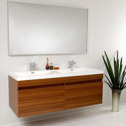 Fresca - Fresca Largo Double Bathroom Vanity - This Fresca Largo modern bathroom vanity features a teak finish and stainless steel hardware. The vanity includes a mirror which complements the lines of this bathroom set.