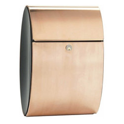 Qualarc, Inc. - Allux Ellipse Mailbox - Allux Ellipse is an elegant, well designed mailbox which radiates elegance and quality. Its beautiful elliptical shape and convex sides give it a modern appearance. The mailbox has separate compartments for letters and newspapers. The Ellipse is made of copper and powder coated steel and comes with a Ruko lock.