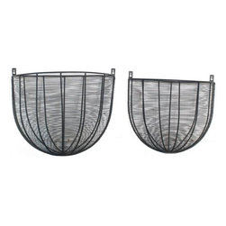 Home Decorators Collection - Wire Planters - Set of 2 - Keep your plants looking good year after year with this set of wall hanging Wire Planters. Your plants will thrive in these metal planters thanks to their unique design and finish. Crafted of black wire. Set of 2.