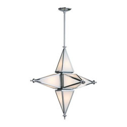 Z Gallerie - Serafino Pendant - Our stylish Serafino Chandelier is designed with a clean contemporary reference to a classic design, featuring a traditional star-shaped frame and a finial detail at each point. Crafted of iron and glass, our Serafino Chandelier illuminates your space with its chrome finish and six 60 watt bulbs. Size is what makes all the difference for this impressive fixture. Available in 2 sizes. Finished with a chrome finished rod and ceiling plate for modern appeal.