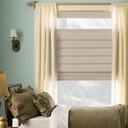Levolor Classic Roman Shades in optional blackout fabric from Blinds.com - Levolor Classic Roman shades offer a luxurious look with an affordable price. The richness of the solid collection has the color you need, with its range of color from bold red and gold to warm, earth tones of the neutral palette.Or choose from the wide selection of room darkening fabrics to block light in media rooms or bedrooms.