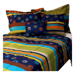 Casual Living by Jessica Sanders - Peace Stripes Queen Comforter Set 4pc Hippie Bedding - Features: