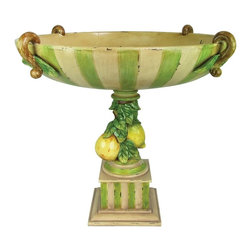 Sterling Industries - Sterling Industries Le Jardin Bowl X-4270-39 - This Sterling Industries bowl is perfect for fruits or just as a decorative piece anywhere in your home. The stripes of cream and green create visual interest, and traditionally styled hands play off a European flair. This Le Jardin bowl also features a pedestal style base with fruits adorning the stem.