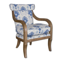 "Matthew Williams - Matthew Williams Kaiden Armchair X-73132 - Comfortable lounge chair with carved oak arms and legs, hardwood frame, and linen ikat in easy shades of indigo and cream. Seat height is 21.5""."