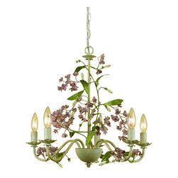 """AF Lighting - Grace Flower Chandelier with Hand Painted Flowers - The Grace flower chandelier is uniquely handcrafted in cut metal with hand painted flowers over a cream finish. Measuring 18.5""""H x 20""""W this flower chandelier requires 3-60W Edison based bulbs. Hardwire only and due to hand crafting, no two are exactly alike."""