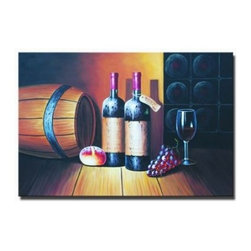 Wine Cellar l - As the first painting in a two-part wine cellar series, Wine Cellar I is a wonderful example or wine art still life. The objects seen are the typical signs of wine drinking and honoring. The bread, the grapes, the barrel, the filled wine glass, and the two wine bottles make for an appetizing evening in. Subtly rendered in the shadowy background is a wine rack filled with more bottles, clueing us in that this arrangement is taking place right at the source.