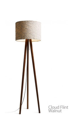 """Domus - Domus STEN Cloud Floor Lamp - STEN, the modern interpretation of a timeless classic. With its casual charm and beautiful lighting ambience, this stable tripod, available in oiled white oak or oiled walnut, sets new accents. both for residental and office spaces. The cylindrical screen appears to rest nearly weightlessly on the delicate wooden structure of the three tapered legs. The STEN Cloud lampshade is crafted in an elaborately pleated and crashed trevira. A nice feature is the pull switch in the shape of a long rod that comes with the lamp in both silver and red. A textile cable-silver for the oak, black for the walnut version- adds to the high quality appeal of the lamp. The E27 fixture can be fitted with both halogen and compact fluorescent lamps.  Product Details STEN, the modern interpretation of a timeless classic. With its casual charm and beautiful lighting ambience, this stable tripod, available in oiled white oak or oiled walnut, sets new accents. both for residental and office spaces. The cylindrical screen appears to rest nearly weightlessly on the delicate wooden structure of the three tapered legs. The STEN Cloud lampshade is crafted in an elaborately pleated and crashed trevira. A nice feature is the pull switch in the shape of a long rod that comes with the lamp in both silver and red. A textile cable-silver for the oak, black for the walnut version- adds to the high quality appeal of the lamp. The E27 fixture can be fitted with both halogen and compact fluorescent lamps.                         Manufacturer            Domus                            Designer            Design Weige                            Made In            Germany                            Dimensions            Max Height: 60 1/4"""" (153cm)X Width: 17 1/4"""" (44cm)                            Light Bulbs            1 x 75W E27 halogen                            Material            Wood, Fabric and Metal"""