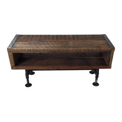 Mt Hood Wood Works - 4 ft Industrial tv stand with distressed pipe legs - 4 ft Industrial tv stand with distressed pipe legs. Made with rough sawn old growth Douglas Fir / reclaimed barnwood. Tv stand has 1 shelf made from the same wood with 7 inches of space between the top and bottom shelf. Made with raw steel angle Iron, 10 inch tall distressed pipe legs, and salvaged barnwood. Tv stand is finished with a clear, high traffic polyurethane, which provides maximum protection to scratching and scuffing - for maximum durability. Made in Oregon. The piece that you receive will have unique characteristics and will not be the exact one from the pictures.