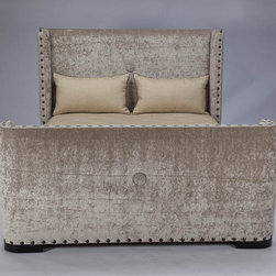 Jar Designs - JAR Design 'Deco' Espresso Queen-size Bed - This upholstered queen-size bed is a wise choice for those who love both sophistication and contemporary design. Constructed with alderwood and upholstered with 100 percent polyester, this bed gives you a luxurious oasis you'll enjoy for years to come.