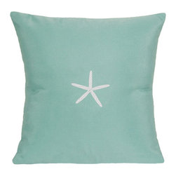 "Nantucket Bound - Sunbrella Starfish Pillow by Nantucket Bound, Glacier Blue - Nantucket Bound's indoor/outdoor pillow measures 18"" square and features an embroidered starfish design.  Fabric is fade and weather-resistant Sunbrella, making it ideal for bedroom to family room or patio to poolside!  Cover removes for machine washing. Insert included.  Shown in Glacier Blue.  Available in 5 coordinating colors."